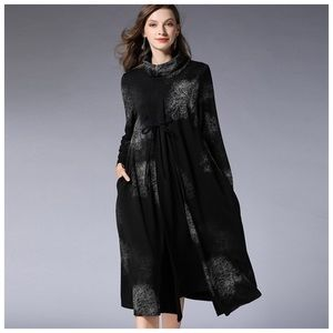 Black & Brown Flowing Cowl Dress
